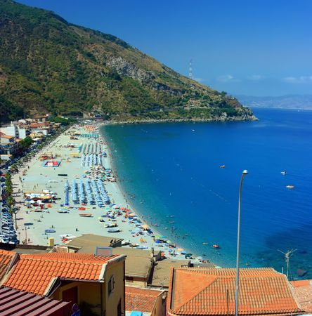 calabria: View on Charybdis town in Sicily from Scylla town in Calabria through Messina strait in Italy