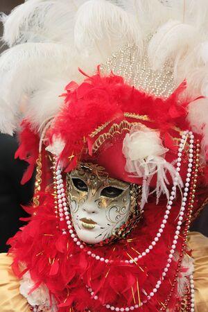 mardigras: Portrait of a beautifully decorated venetian mask  Stock Photo
