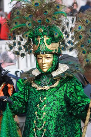 Venetian mask of peacock in green color Stock Photo - 4667521