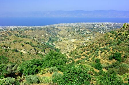 calabria: View on Reggio Calabria airport from Aspromonte with Sicily on background