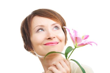 Happy young woman with flower looking aside up isolated on white photo