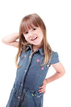 Lovely little girl posing like a fashion model photo