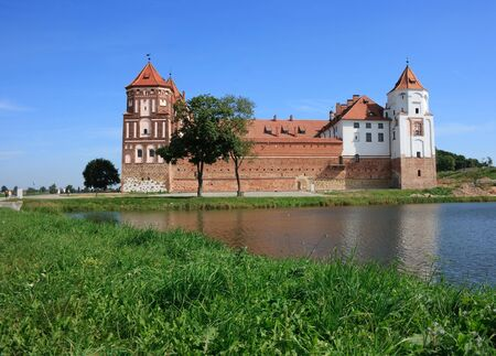 sightseeng: Castle of Mir in Belarus Stock Photo