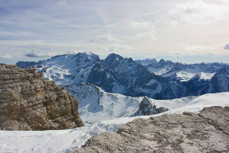 Dolomites landscape. View on mountain range from the point 3000m above the sea level Stock Photo - 5696369
