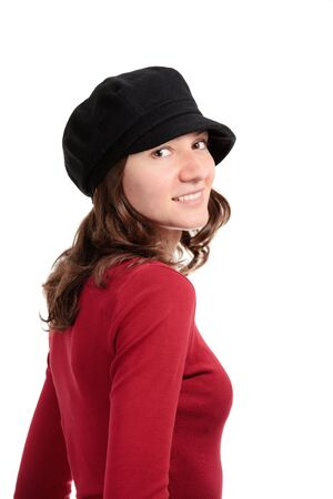 Attractive girl with hat isolated over white backgound photo