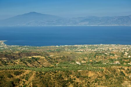 strait: Wonderful view from Aspromonte in Calabria on Messina and Etna through Messina strait