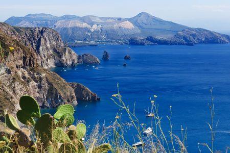 Quattrocchi seascape: view on Vulcano island from Lipari island