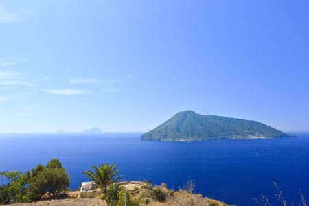 View on (left to right) Alicudi, Filicudi, Salina islands of the Aeolian archipelago