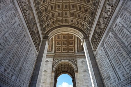 triomphe: Wide-angle shot of parisian Arc de Triomphe underneath