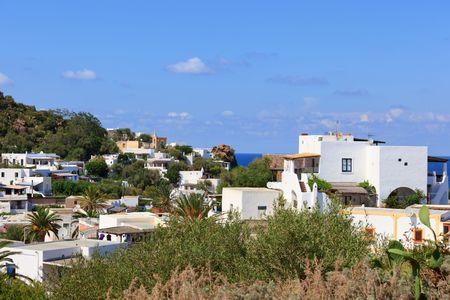 characteristic: Typical view of Panarea island with characteristic white houses
