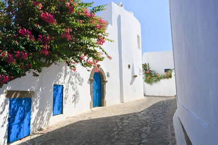 panarea: Architectural style of streets of Panarea island in Italy