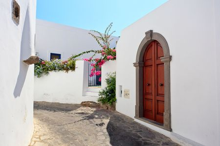 Architecture detail of a street on Panarea island photo