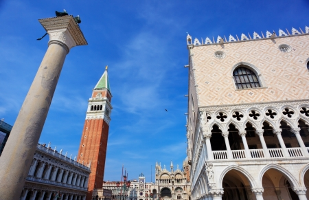st marks square: Wide-angle shot of Palace of Doges and campanile on St. Marks Square in Venice, Italy Stock Photo