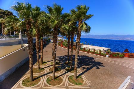 calabria: Promenade in Reggio Calabria with a view on Sicily over Messina strait Stock Photo