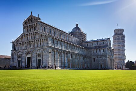 Piazza dei Miracoli with Leaning tower in Pisa, natural rim light