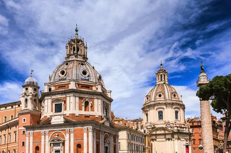 Church of Santa Maria di Loreta and Trajans Column near Piazza Venezia in Rome