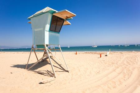 Lifeguard post on empty beach of Santa Barbara, California