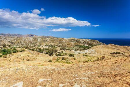 Terrain sec typique en Calabre contre la mer d'un bleu profond. Focus sur un groupe d'oliviers Banque d'images