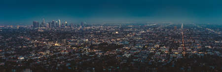 Los Angeles downtow twilight panorama from Griffith observatory, high resolution