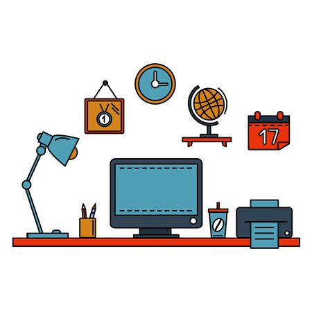 work place: Line flat vector illustration workspace with desktop computer, work place, equipment in office interior Stock Photo