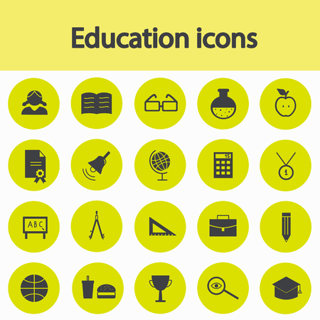 wake up call: Set icons of education and school.  Vector illustration. Stock Photo