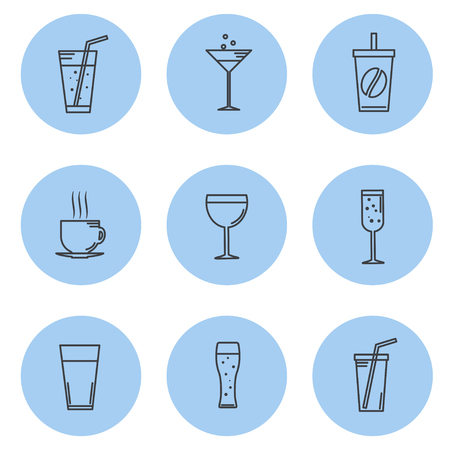 spirituous: Vector illustration. Set kontturnyh lines Icon beverage and drinks