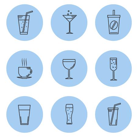 margerita: Vector illustration. Set kontturnyh lines Icon beverage and drinks