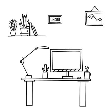 computer work: Vector illustration Doodle style table, workplace in office