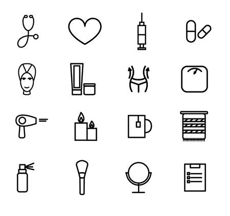 medical symbols: Flat design vector illustration of decorative and aesthetic medicine, spa. Illustration