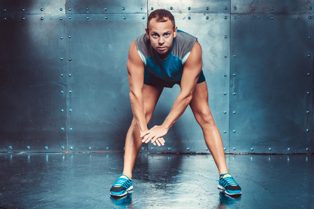 strenght: Sportsmen. fit male trainer man concept  fitness workout strenght power Stock Photo