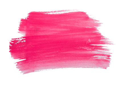 Watercolor pink smear isolated on white background Stock Photo