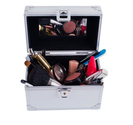 white backgroung: Decorative cosmetics in makeup box isolated on white backgroung.