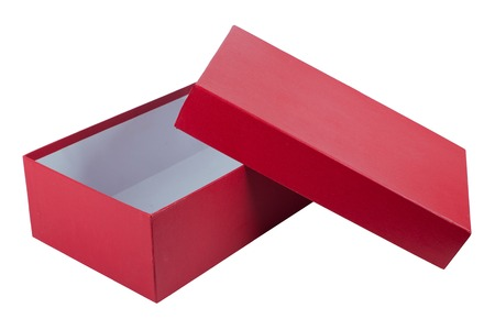 open red box for shoes isolated on white background. Standard-Bild