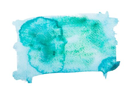 Watercolor green smear isolated on white background.