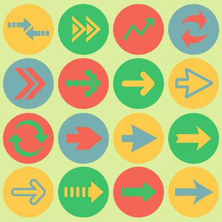 orientation marker: Arrow sign flat icon set. Simple internet button. Contemporary modern style. vector illustration web design elements.