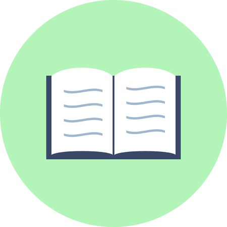 Book  open, read, reading vector flat design icon in a circle.
