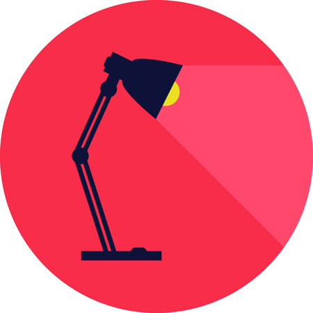 lamp light: table-lamp, desk lamp,  reading-lamp with light,  flat style vector illustration
