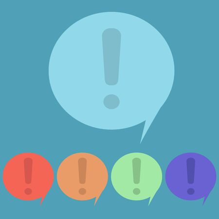 smirch: Exclamation mark button, speech, attention, vector icon. Illustration