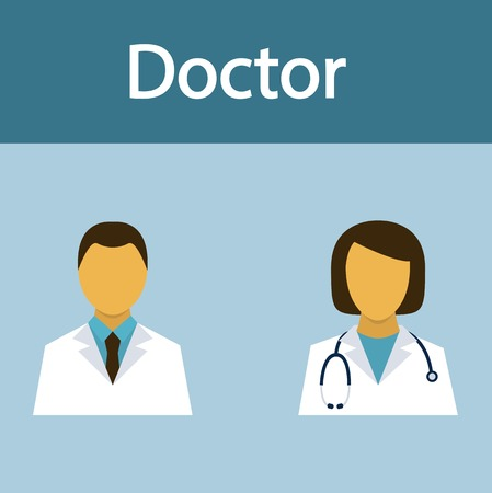 clinical staff: Doctor, medical staff, occupation, people, flat icon, vector.