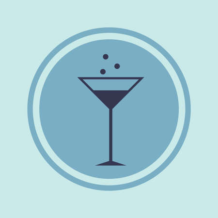alcoholic beverage: Vector icon flat glass cocktail, alcoholic beverage in a circle. Illustration