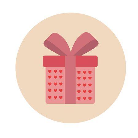 giftware: Gift, gift box with ribbon, vector Konka flat design. Illustration