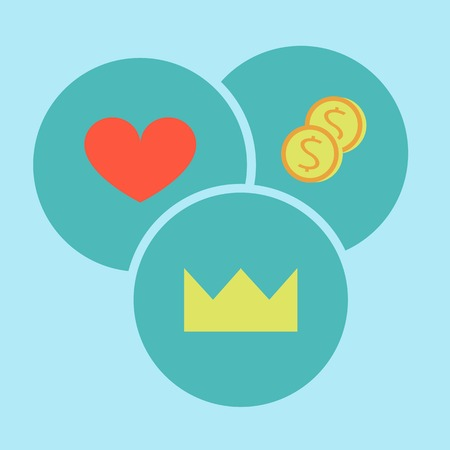 Power, love, heart, money, selection, priority, morality, icons flat design, vector.
