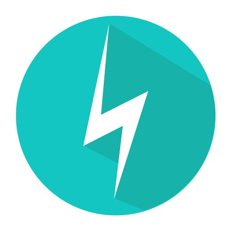 electrocute: Vector illustration, flat design icon lightning circle, button, a symbol of the web. Illustration