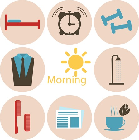 wake up happy: Morning time, morning occupation icons set. Flat design vector.