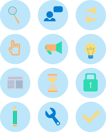 design objects: Modern flat icons vector collection in stylish colors of web design objects, business, finances, office and marketing items. Isolated on white background. Illustration