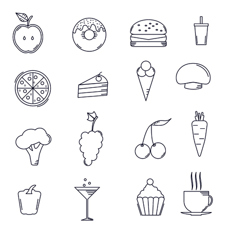 grapes and mushrooms: Set lines food icons in flat design, eat, healthy and unhealthy, vegetables, fruit, fast food, vector.