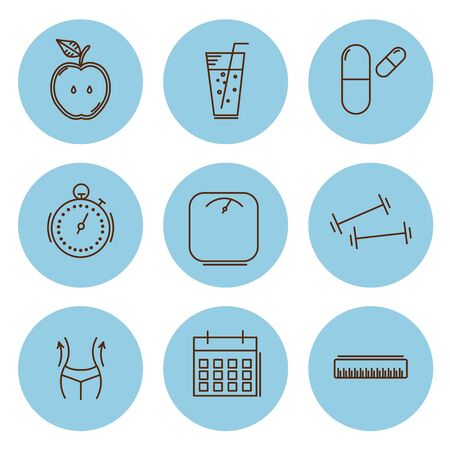 slimming: Fitness and health, slimming set of icons. Vector illustration. Illustration