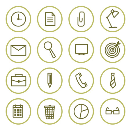 set the intention: office icons set contour  in circles. Vector illustration.
