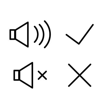 cross mark: Vector icons sound volume loud quiet, tick, cross, mark. Illustration