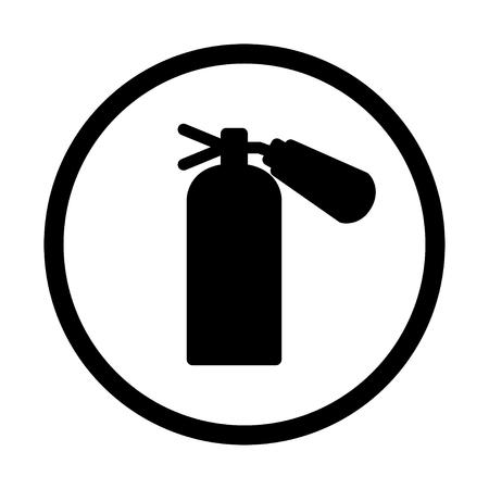 firealarm: fire extinguisher icon, isolated, on white  background Illustration
